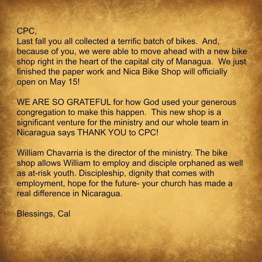 Nicaragua thanks