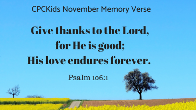 CPCKids November Memory Verse