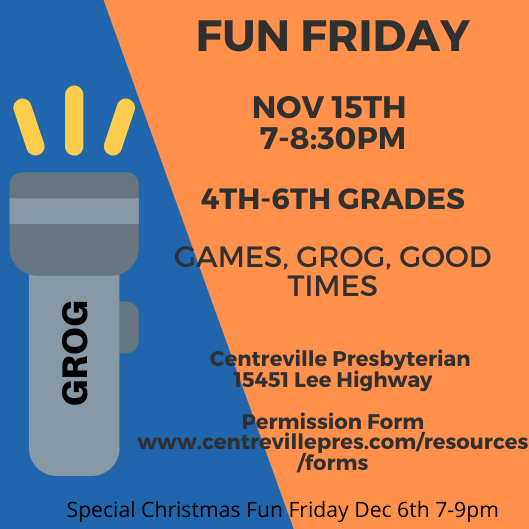 Fall Fun Friday Nov 15th 7:00-8:30pm