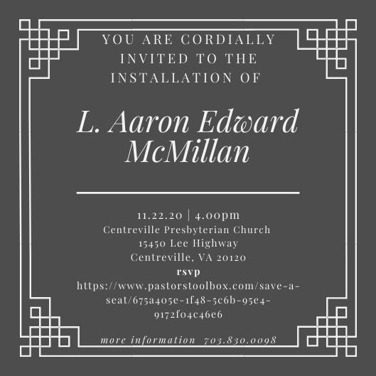 Installation of Aaron McMillan