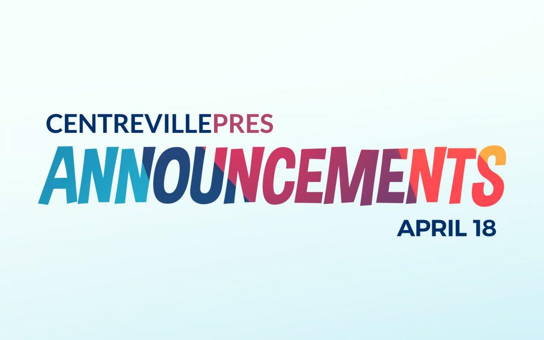 Announcements April 18, 2021