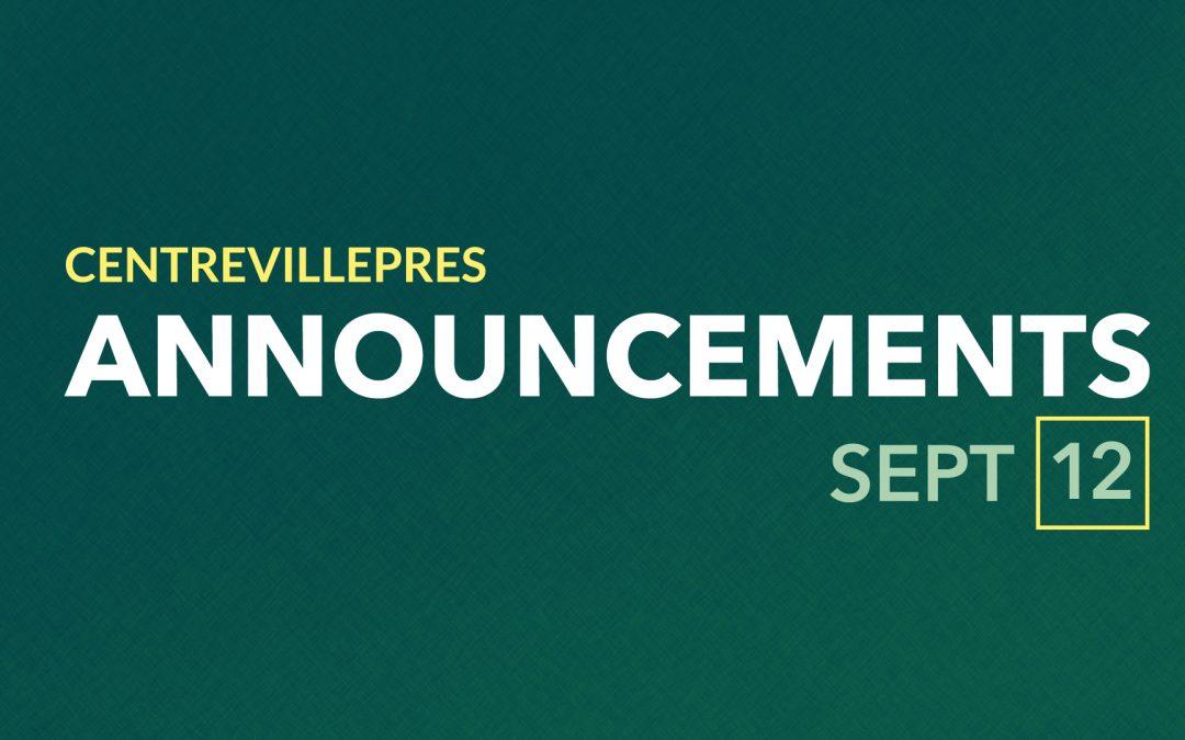 Announcements Sept 12, 2021