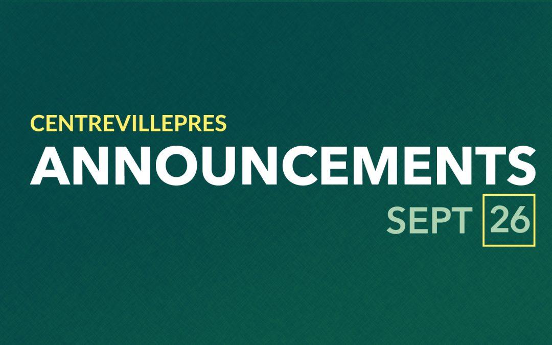 Announcements Sept 26, 2021